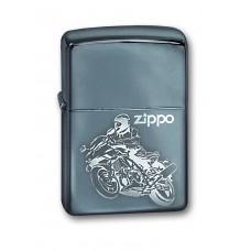 Зажигалка ZIPPO 150 Moto, с покрытием High Polish Chrome, латунь/сталь, серебристая, глянцевая,