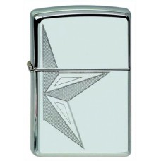Зажигалка ZIPPO 250 HALF STAR  Classic с покрытием High Polish Chrome, латунь/сталь, серебристая, глянцевая, 36x12x56 мм