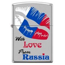 Зажигалка ZIPPO 205 WITH LOVE FROM RUSSIA Из России с любовью, с покрытием Satin Chrome™, латунь/сталь, серебристая, матовая, 36x12x56 мм