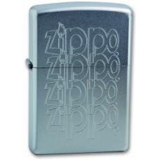 Зажигалка Zippo 205 ZIPPO LOGO с покрытием Satin Chrome™, латунь/сталь, серебристая, матовая, 36x12x56 мм