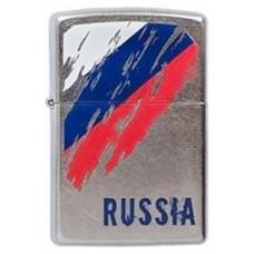 Зажигалка Zippo 207 Russia Flag, с покрытием Street Chrome™, латунь/сталь, серебристая, матовая, 36x12x56 мм