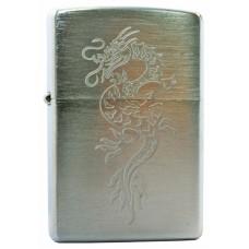 Зажигалка ZIPPO 200 Dragon, с покрытием Brushed Chrome, латунь/сталь, серебристая, матовая,