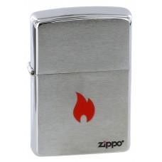 Зажигалка ZIPPO 200 Flame, с покрытием Brushed Chrome, латунь/сталь, серебристая, матовая, 36x12x56