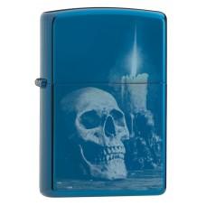 Зажигалка ZIPPO 29704 Classic с покрытием High Polish Blue, латунь/сталь, голубая, глянцевая, 36x12x