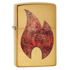 Зажигалка ZIPPO 29878 Rusty Flame Design с покрытием Brushed Brass, латунь/сталь, золотистая, матова